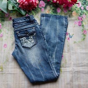 Z2 Jeans Juniors SZ 7 Bootcut Thick Stitch Jeans